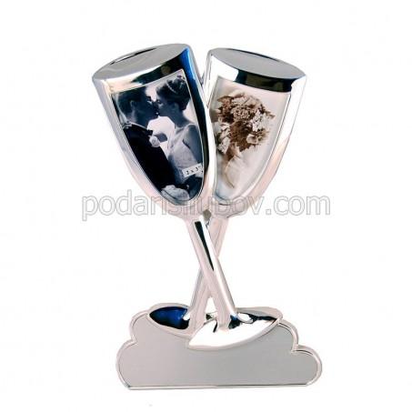 Рамка - Влюбени чаши, за две Ваши снимки