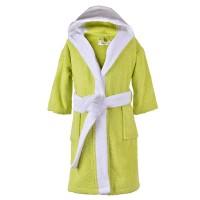 Зелен детски халат за баня с качулка, различни размери