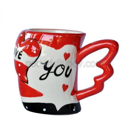 """Керамична чаша """"I Love you"""" (Обичам те), пеперудена дръжка"""