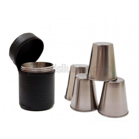 Комплект 4бр. метални шотове в кожен калъф