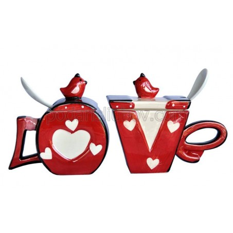 """Комплект чаши """"Love"""" с лъжички и капачета"""