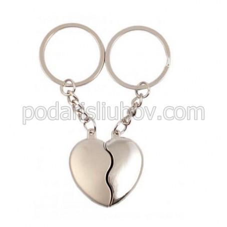 Комплект от два ключодържателя - сърце, две в едно