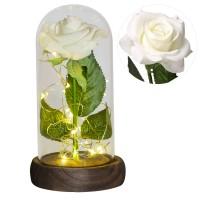 """Бяла вечна роза в стъкленица """"Малкият Принц"""""""